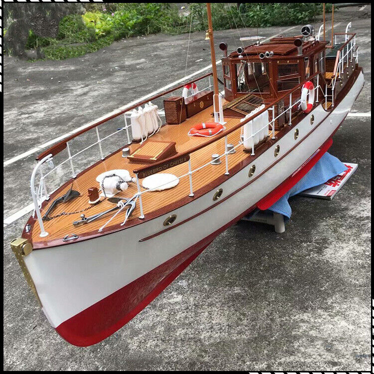 """Bluebird of Chelsea Yacht Scale 1/18 880 mm 34.6"""" RC Wood Model Ship kit"""