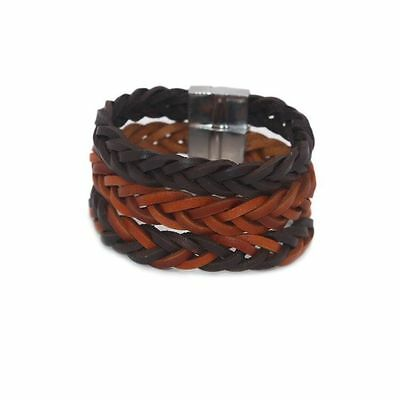 Braided Woven Genuine Leather Bangle Mens Womens Magnetic Clasp Bracelet #BR356 (Leather Woven Braided Bracelet)