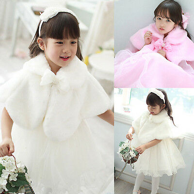 Kids Girls Baby Faux Fur Tippet Wrap Shrug Party Occasion Wedding Princess - Girls Cape