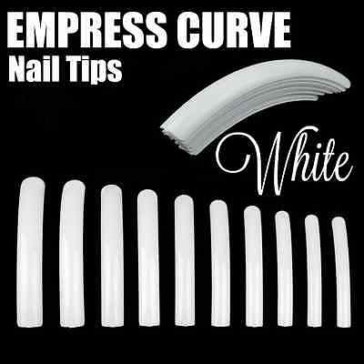 EMPRESS CURVE *WHITE* Long Nail Tips FULL COVER **YOU CHOOSE QTY!** FAST SHIP!