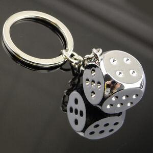Chrome Silver Effect Metal Dice Gift Keyring Keychain Keyfob