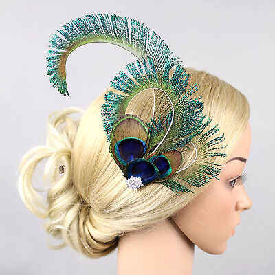 1920s Feather Hairpin Peacock Hair Clip Small Hat Wedding