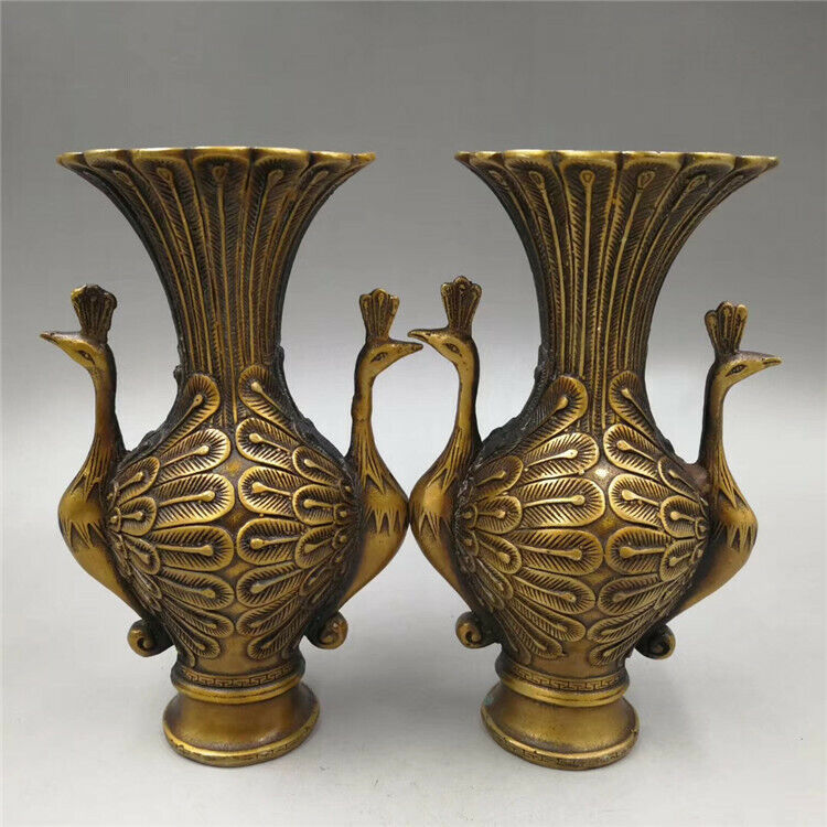 A pair of Chinese antique pure copper double phoenix vase