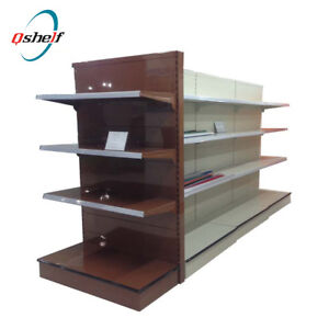 Shelves for retail grocery store  and cigarette covered shelves
