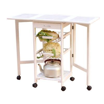 Portable Rolling Drop Leaf Kitchen Storage Island Drawers Baskets Trolley Cart