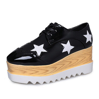 Casual Women's Lace Shoes Star Platform Creepers Leather Oxfords Wedge Sneakers  Leather Star Creeper Shoe