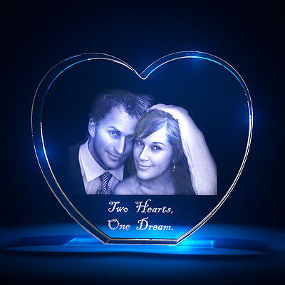 3D Laser Crystal Glass Personalized Custom Etched Engrave Stand Wedding Heart L