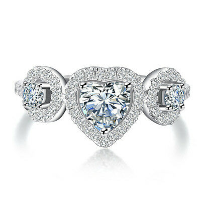 - Twinkling 18K White Gold Silver Heart Cubic Zirconia Engagement Ring Size 7 8