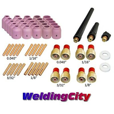 58-pcs Tig Welding Torch Kit .04018 Gas Lens Setup 92025 Tak47 Us Seller