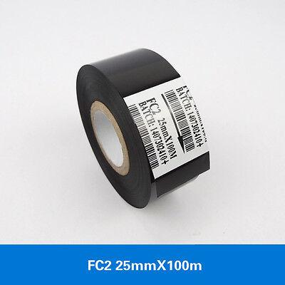 10 Picslot Black Hot Stamp Ribbon Fc2 25mm X 100m For Coder Printer Machine