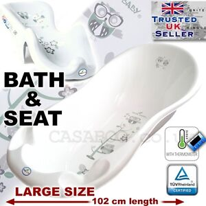 SET LARGE 102cm Baby Bath Tub with thermomether + SUPPORT SEAT chair WHITE OWL