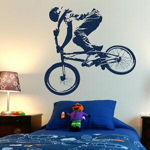 Bmx push bike pushbike boys bedroom wall art stickers kids for Bmx bedroom ideas