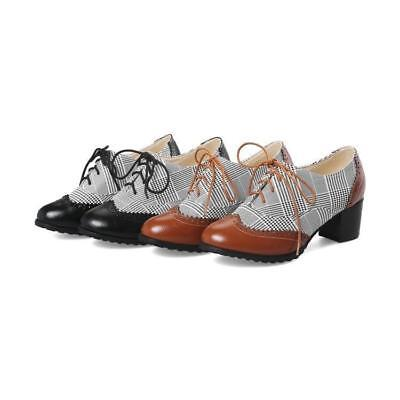 (Womens Plaid Lace up Round Toe Chunky Heels Pumps Spring Oxford Brogue Shoes sz)