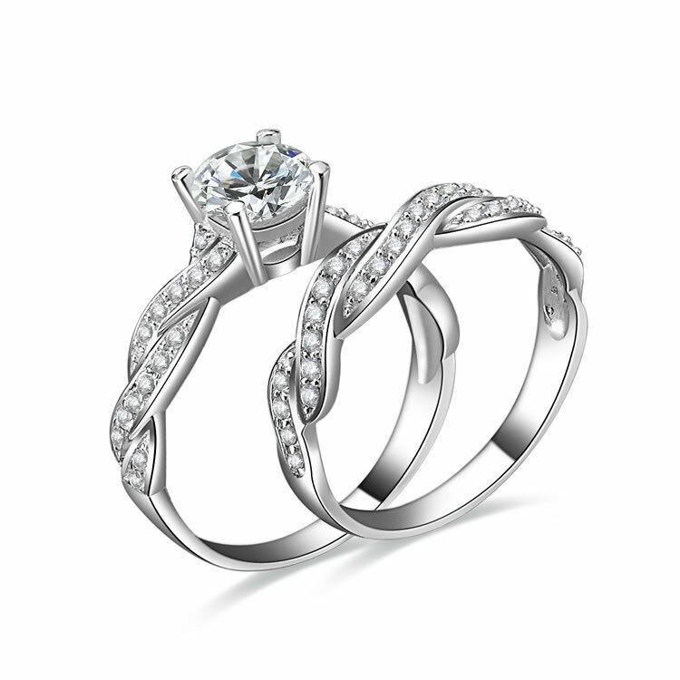 2PC 925 STERLING SILVER WEDDING BAND CZ ENGAGMENT RING GUARD