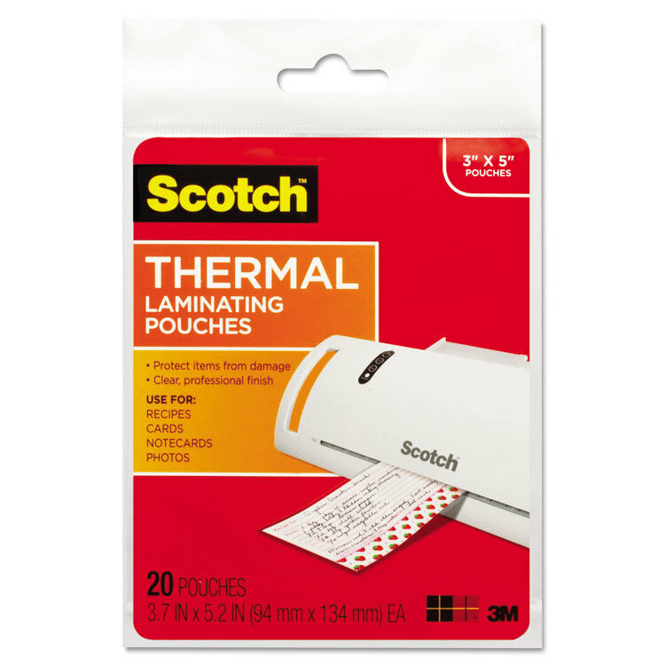 Scotch Index Card Size Thermal Laminating Pouches 5 mil 5 3/8 x 3 3/4 20/Pack