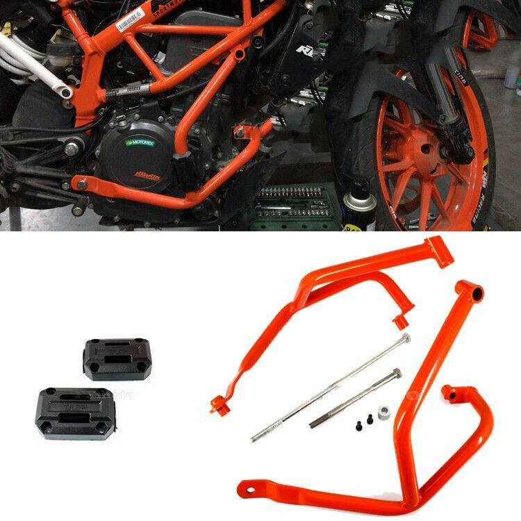 Black Crash Bars Frame Protector Protection Guard For KTM Duke 390 2013-2015