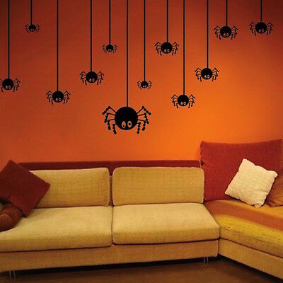 Halloween Spiders Wall Decals Seasonal Wallpaper Vinyls Scary Holiday Art, h01