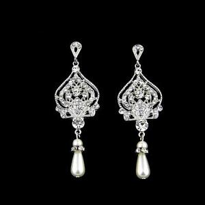 Art Deco Crystal Bridal Chandelier Earrings Pearl Teardrop Wedding Earring Retro