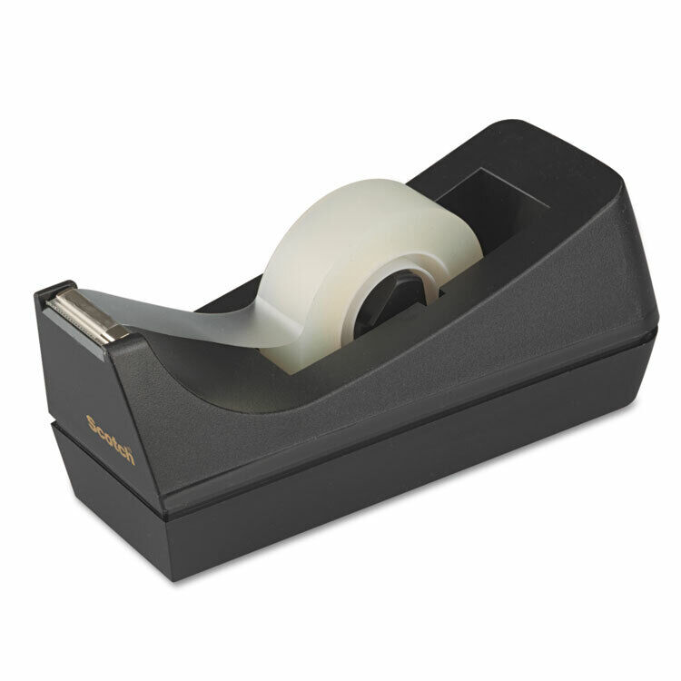 "Scotch Desktop Tape Dispenser 1"" Core Weighted Non-Skid Base Black C38BK"