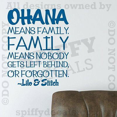 Lilo And Stitch Decorations (OHANA MEANS FAMILY LILO AND STITCH DISNEY Quote Vinyl Wall Decal Decor)