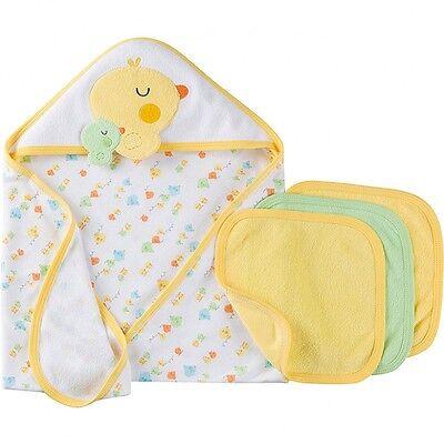 Gerber Baby Unisex 4 Piece Terry Bath Set NEW Neutral Hooded Towels Washcloths
