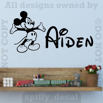 Personalized Name Walt Disney Mickey Mouse Custom Wall Decal Vinyl Sticker Decor - Mickey Mouse Custom
