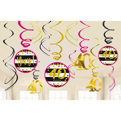 Over the Hill 'Hot Pink and Gold' 40th Birthday Hanging Swirl Decorations (12pc) - 40th Birthday Party Decorations