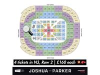 x4 Anthony Joshua v Joseph Parker Tickets