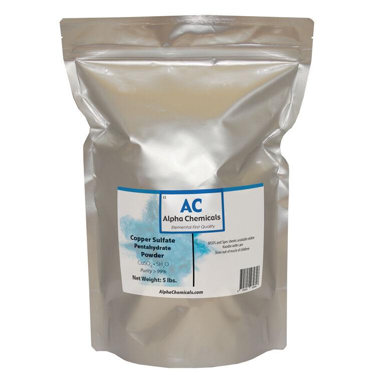 5 Pounds - Copper Sulfate Pentahydrate Powder - 99% Pure