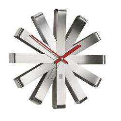 Umbra 12 Ribbon Brushed Stainless Steel Wall Clock 118070-590