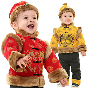 sur Nouvel an chinois tradition costume garçon tenue 3 pc set costume