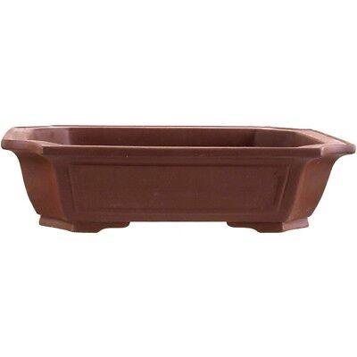 Bonsai pot 39.5x31.5x10cm handmade brown rectangular unglaced