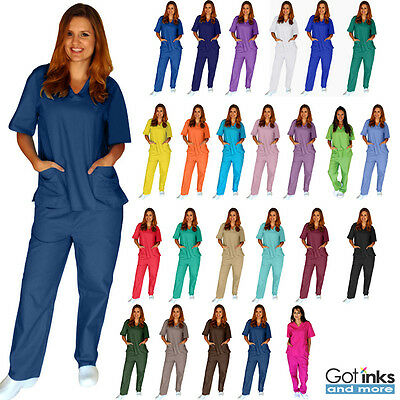 Unisex Men/Women Natural Uniforms Medical Hospital Nursing Scrub Set Top & Pants - Medical Scrubs Sets