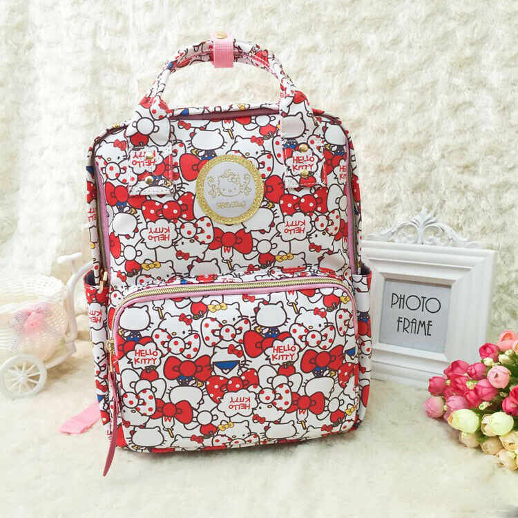 Cute Hello Kitty Backpack PU Leather Schoolbag Teenage Shoulder Travel Bag Red