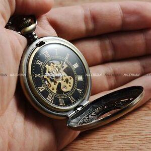Brass-Steampunk-Skeleton-Mechanical-Pocket-Watch-Chain-Vintage-Mens-Gift