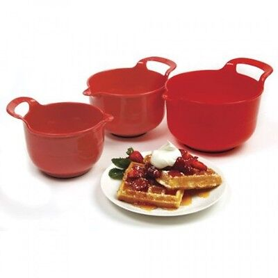 Norpro Mixing Bowls, Red, Set of 3, New, Free Shipping
