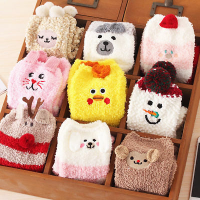 Cute Animal Fuzzy Cozy Warm Thicken Soft Ankle Floor Socks Hosiery Unisex (Cute Animal Print)