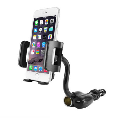 3.5in Wide Cell Phone Holder Mount Car Charger and USB Charg