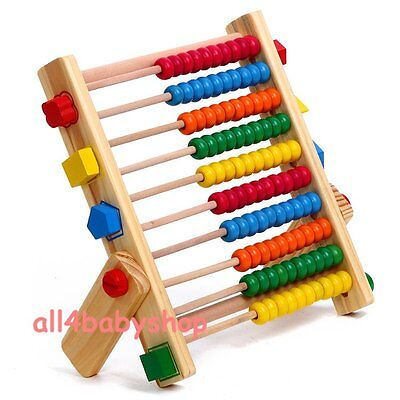 Wooden Abacus Kids Child Learning Shapes Numbers Numeracy Educational Toy NEW
