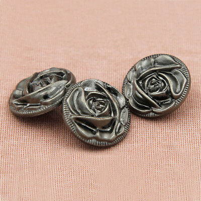 (12pcs Metal Rose Flower Shank Buttons Coat Clothes Sewing Button Embellishment)