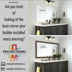 We can frame your plain bathroom mirrors. Free Consultation