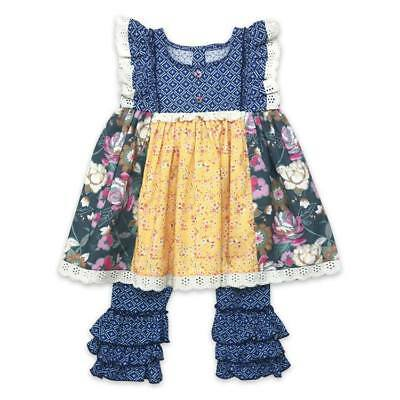 - Girls Boutique ruffle capri top outfit set easter Toddler Blue New 3 4 5 6 7 8