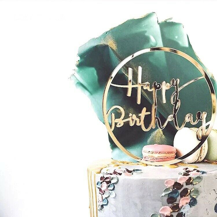 Happy Birthday Gold Cake Topper Party Decoration