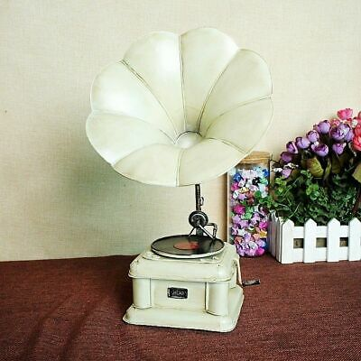 Antique Gramophone Model Retro White Metal Record Player Turntable Home Ornament