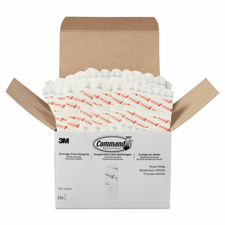 """Command Poster Strips  Removable  Holds Up to 1 lb  5/8"""" x 1 3/4""""  White  256"""