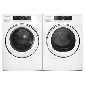 Compact front load washer dryer combo by Whirlpool, white
