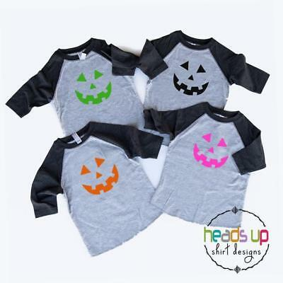 Kids Pumpkin Halloween Shirt Raglan Toddler Baby Boy or Girl Siblings Costume](Toddler Pumpkin Halloween Costume)