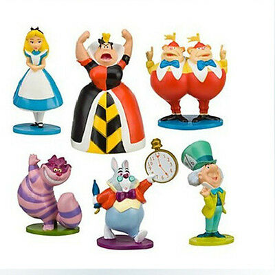 Alice In Wonderland 6 PCS Action Figure Doll Cake Topper Toy Hatter White Rabbit Alice In Wonderland Figure