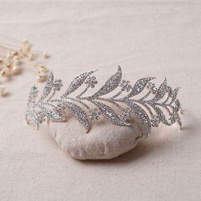 Tiara Cristal Novia Boda Corona Cabello Diadema de Reina Concursos Belleza Gema