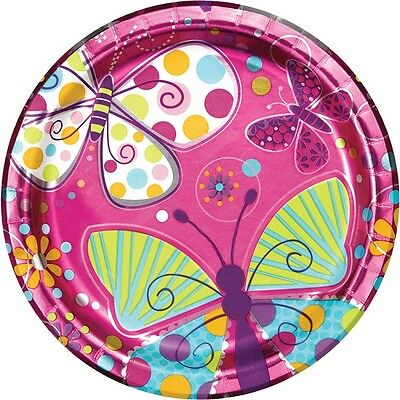 Butterfly Sparkle | Pink | Purple | Flower 23cm Paper Party Plates 1-48pk